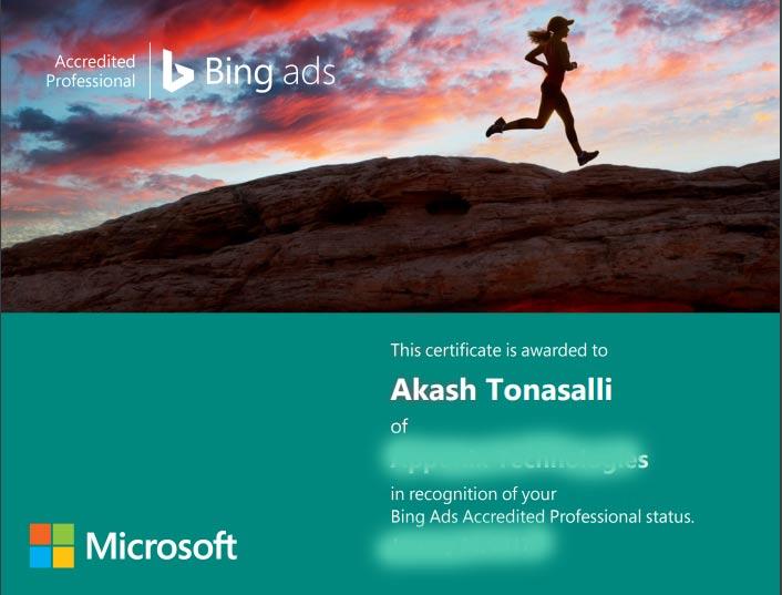 Bing certificate