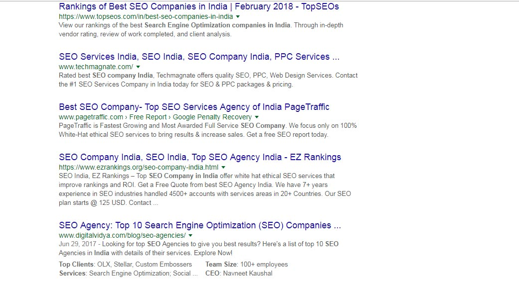 top 10 result from seo